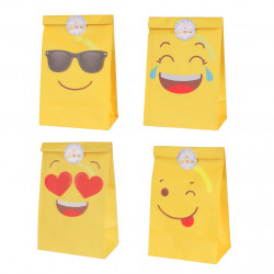 LOTE DE 12 BOLSAS DE PAPEL EMOTICONOS PARTY